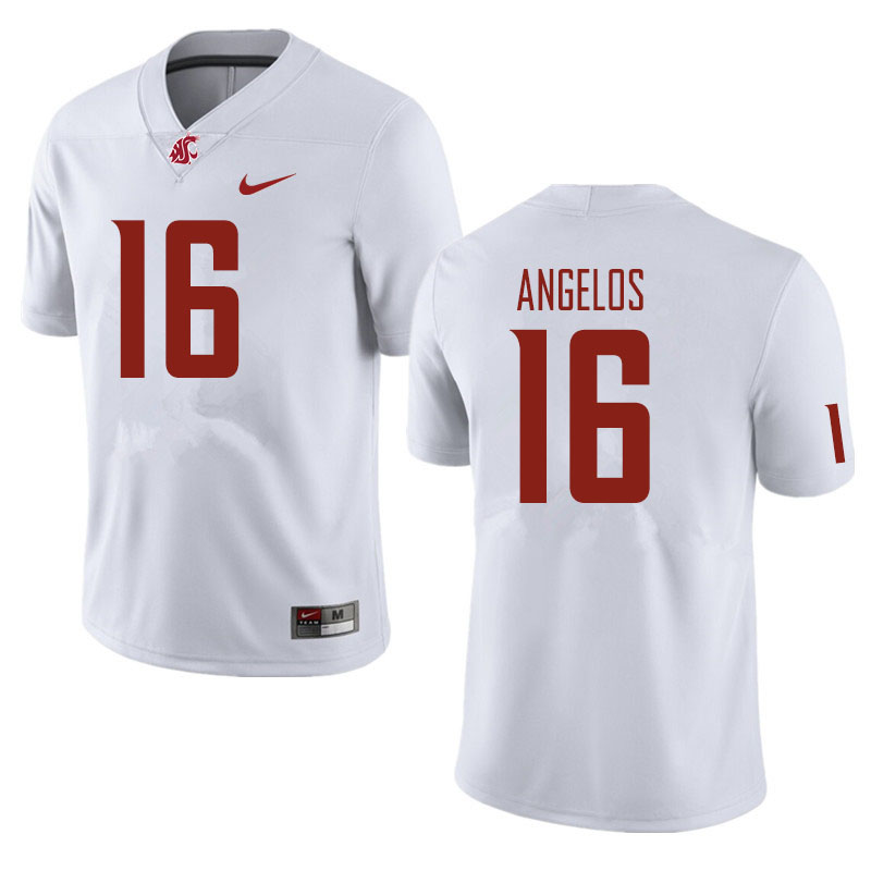 Men #16 Aaron Angelos Washington State Cougars Football Jerseys Sale-White