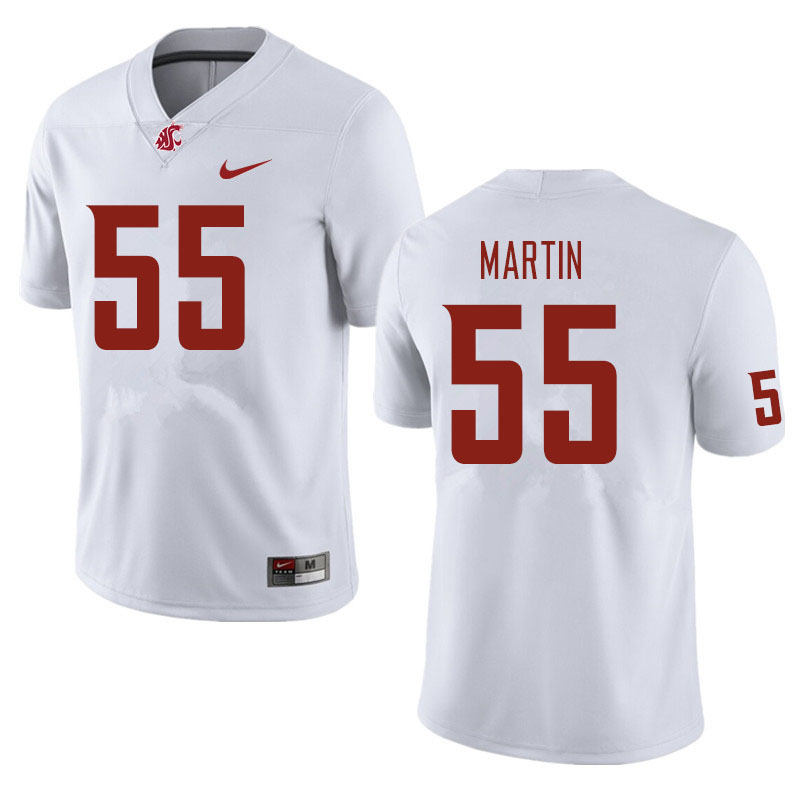 Men #55 Austin Martin Washington State Cougars Football Jerseys Sale-White