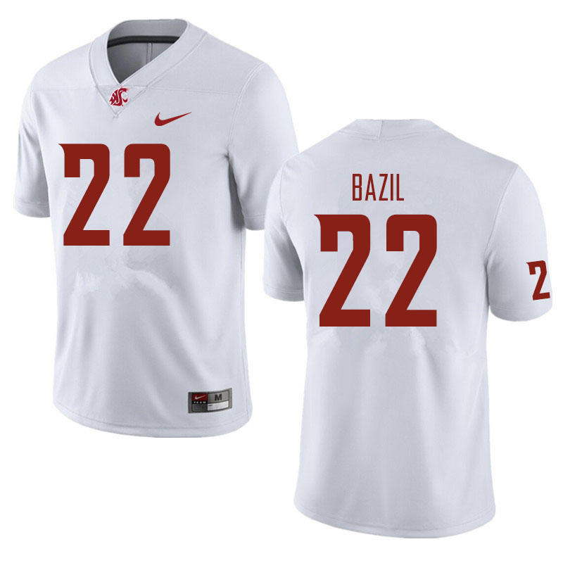 Men #22 Jouvensly Bazil Washington State Cougars Football Jerseys Sale-White