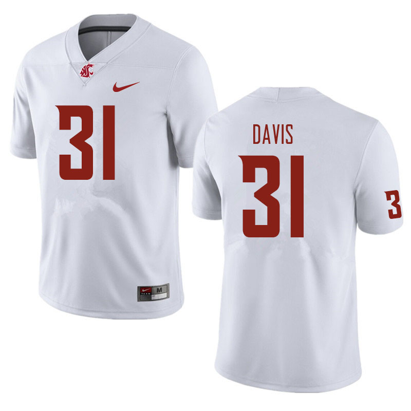Men #31 Trey Davis Washington State Cougars Football Jerseys Sale-White
