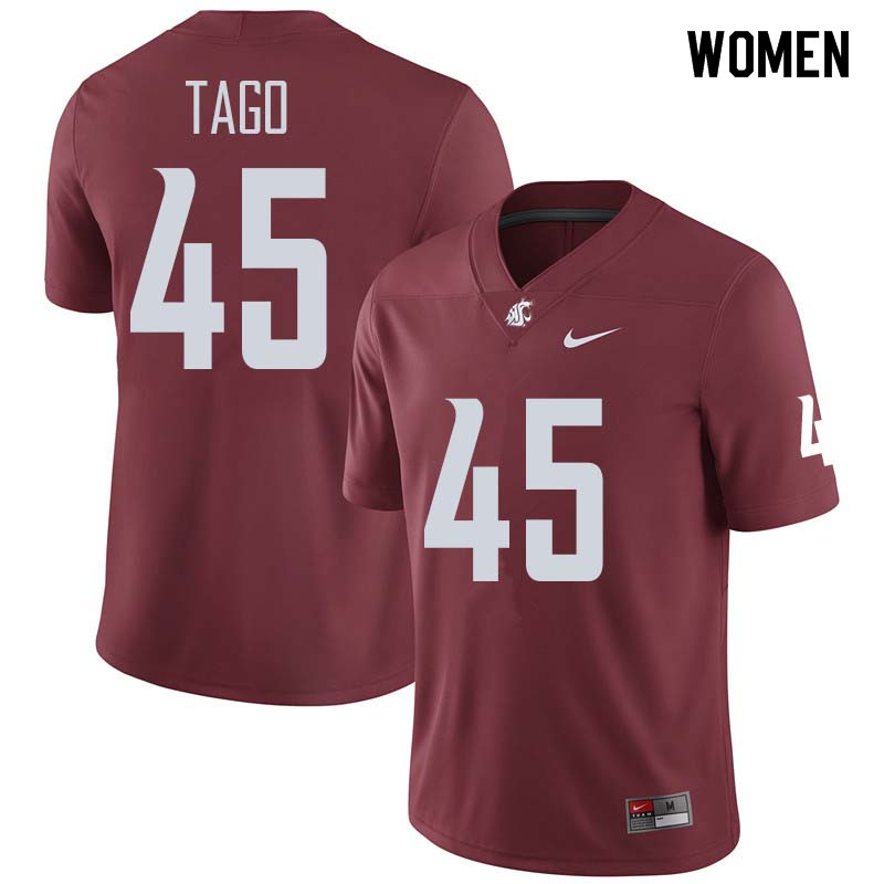 Women #45 Logan Tago Washington State Cougars College Football Jerseys Sale-Crimson