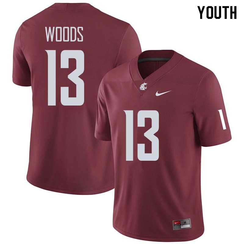 Youth #13 Jahad Woods Washington State Cougars College Football Jerseys Sale-Crimson