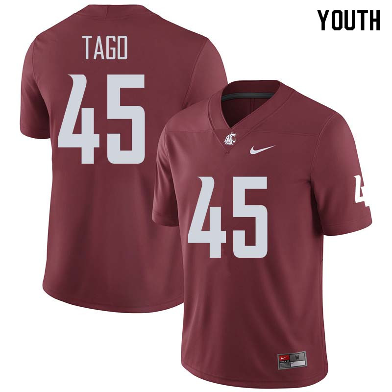 Youth #45 Logan Tago Washington State Cougars College Football Jerseys Sale-Crimson