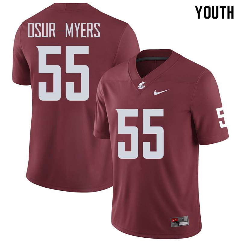 Youth #55 Noah Osur-Myers Washington State Cougars College Football Jerseys Sale-Crimson