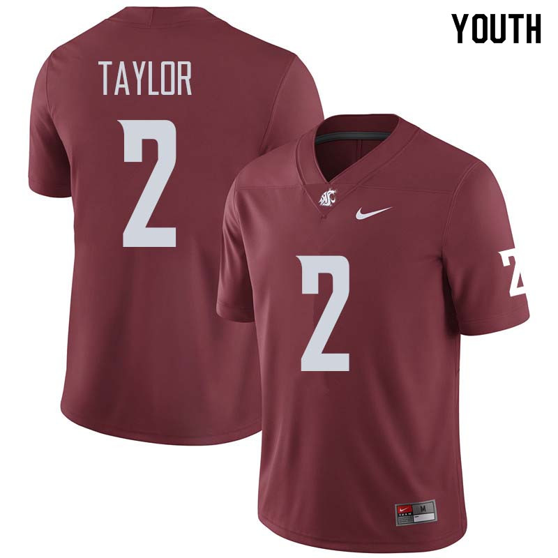Youth #2 Robert Taylor Washington State Cougars College Football Jerseys Sale-Crimson