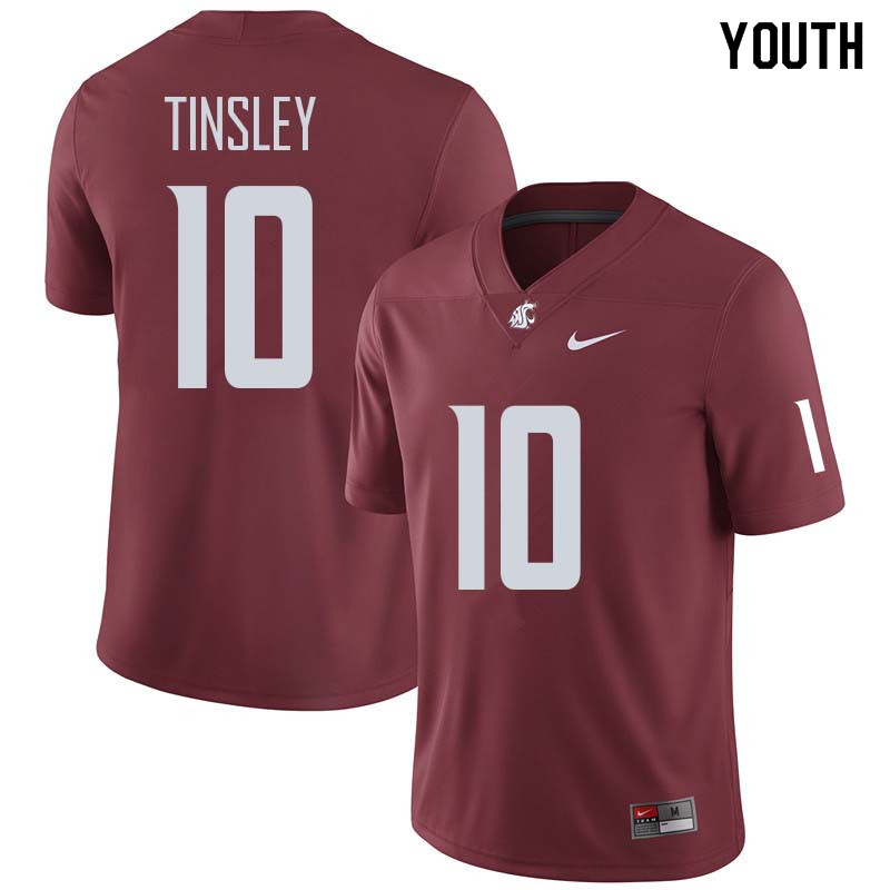 Youth #10 Trey Tinsley Washington State Cougars College Football Jerseys Sale-Crimson